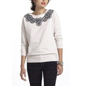 Saturday Sunday Embroidered Flower Neck Sweater